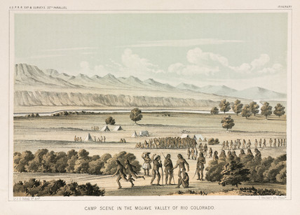 Camp scene in the Mojave Valley, Rio Colorado, 1853-1855.
