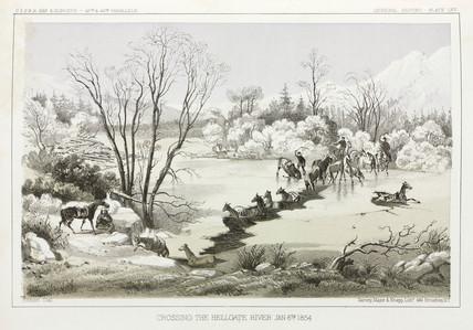 Crossing the Hellgate River, Montana, USA, 6 January 1854.
