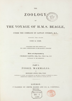Title page to 'The Zoology of the Voyage of HMS Beagle', 1840.