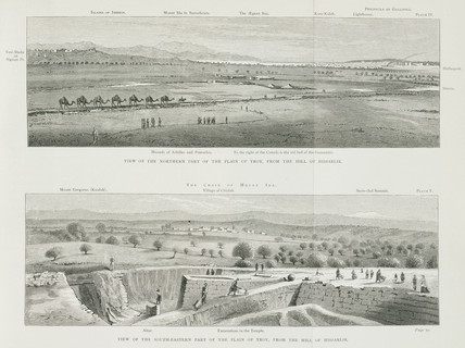 Two views of the Plain of Troy, from the Hill of Hissarlik, Turkey, 1871-1875.