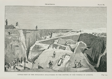 The excavation of ancient Troy, Turkey, 1871-1875.
