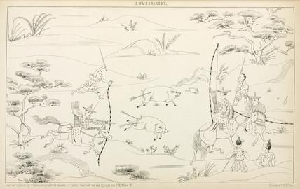 Boar hunt, Japan, 1867.