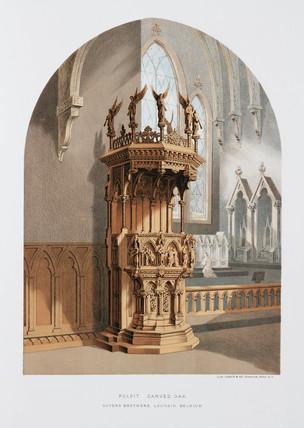 Carved oak pulpit, Belgian, 1876.
