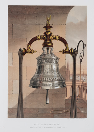 Silver and bronze bell, German, 1876.