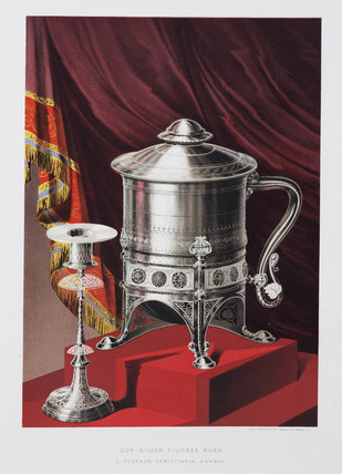 Silver filigree cup and candlestick, 1876.