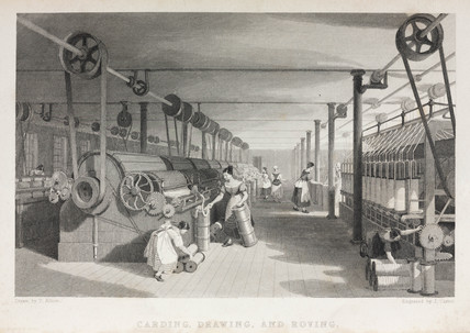 Carding, drawing, and roving in a cotton mill, 1835.