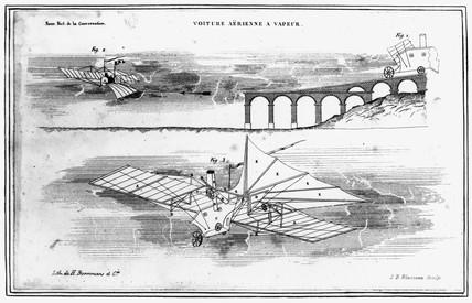 Henson's machine starting from viaduct runway, c 1842.