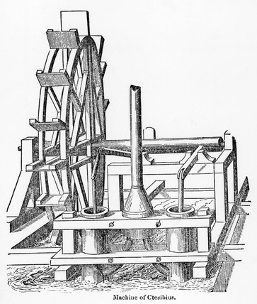 Ctesibius' water-driven pump, 2nd century BC.