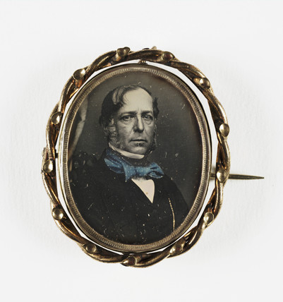 Portrait of a man contained in a locket, mid-late 19th century.