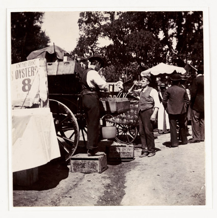 Fairground drinks stall, c 1898.