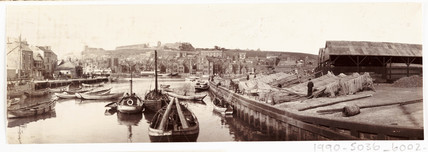 Fishing nets at Whitby Harbour, c 1905.