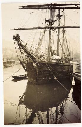 Moored sailing ship, c 1905.