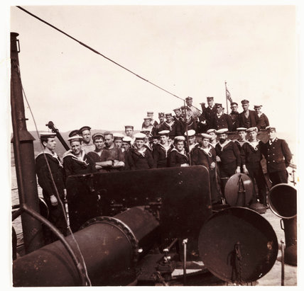 Sailors on the deck of a ship, c 1905.
