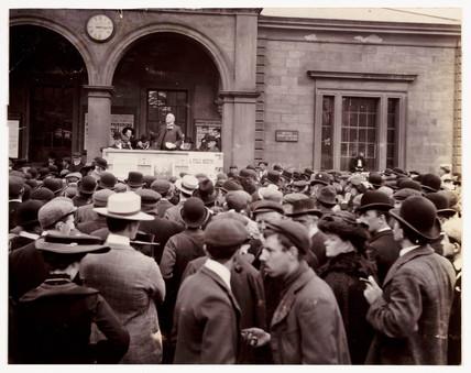 A public meeting, c 1900.