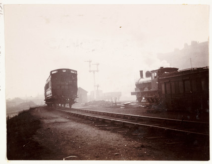 Trains on railway tracks, c 1905.