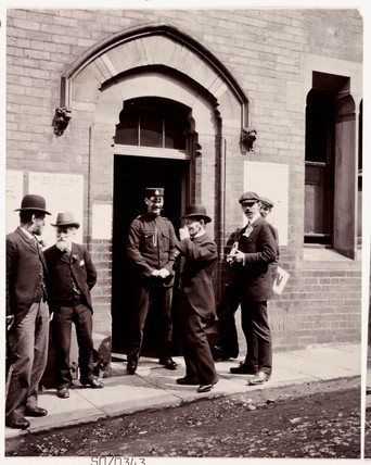 Men outside a polling station, Whitby, North Yorkshire, 1905.