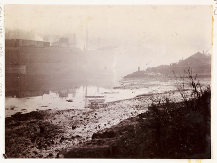 Whitby Harbour in thick mist, c 1905.