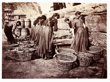 Women sorting the catch, Whitby, North Yorkshire, c 1905.