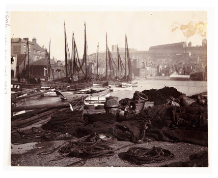 Whitby Harbour, North Yorkshire, c 1905.
