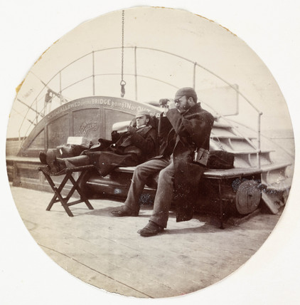 Two men on the deck of a ship, c 1890.