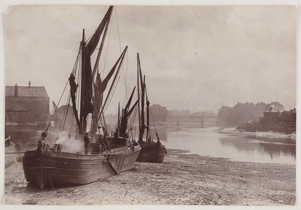 Beached barges, c 1890
