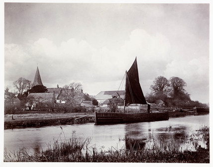 Barge on a river, c 1890