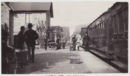 Boarding a train, c 1905.