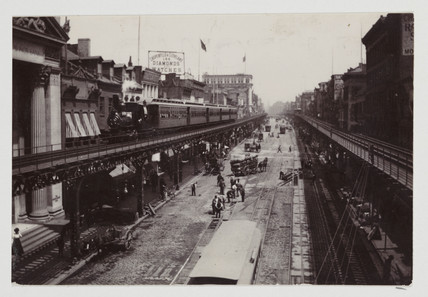 Elevated railway in the Bowery, New York, USA, 1900.