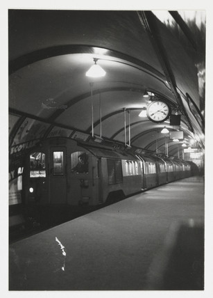 Underground train on the Bakerloo line, London, c 1935.