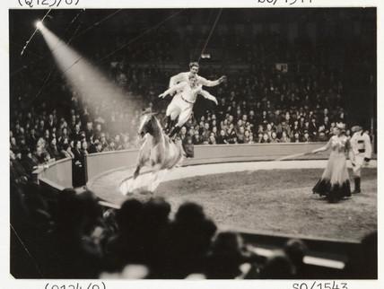 Circus bareback riders, c 1936.