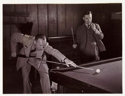 Playing snooker, c 1936.