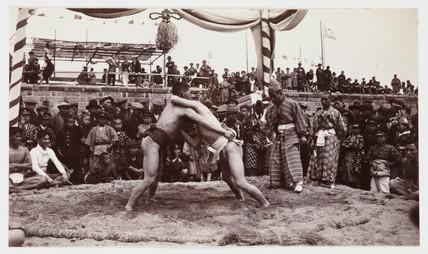 Sumo wrestling, Japan, c 1925.