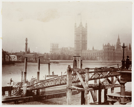 Floating jetty and Houses of Parliament, London, c 1905.