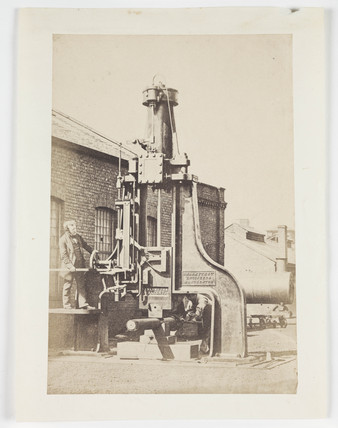 Nasmyth and his steam hammer, c 1845.