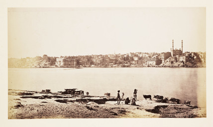 'Benares - General View From Opposite Bank Of The Ganges', c 1865.