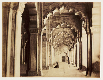 Interior of the Moti Masjid, Agra, c 1865.