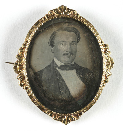 Small portrait of a man contained in a brooch, mid-late 19th century