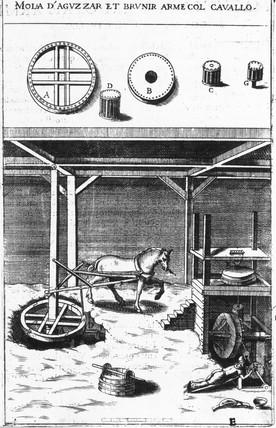 Horse-powered sharpening and burnishing machine, 18th century.