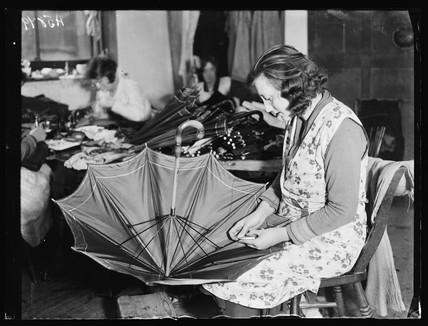 Woman making an umbrella, 1932.
