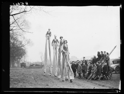 The Sloan Family performing on stilts, 1932.