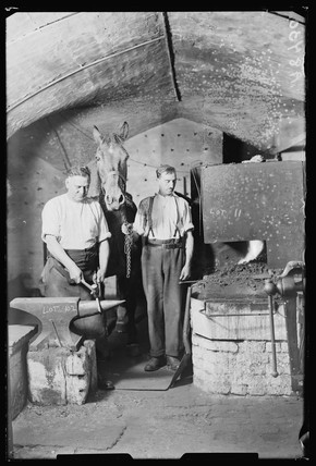 Blacksmith at work, 1932.