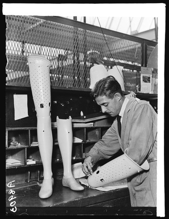 Making an artificial leg, 1932.