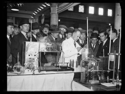 Chemist testing petrol, 1932.