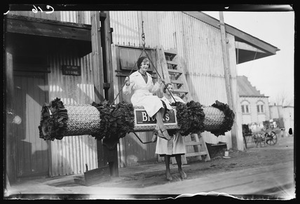 Swinging on a festive 'firework', 1932.