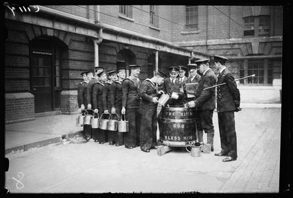Sailors 'splicing the mainbrace', 1933.