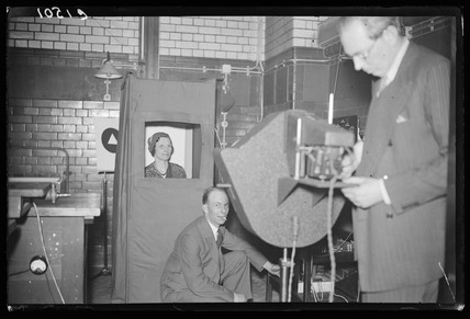 Demonstrating a television signal generator, Science Museum, April 1933.