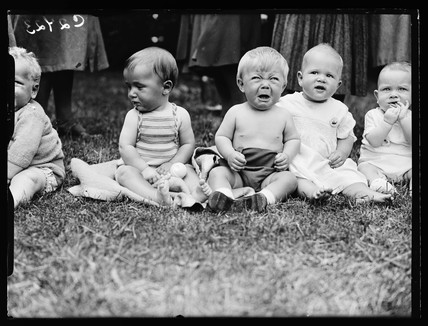 Babies at a summer fete, 1933.