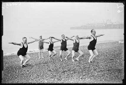 Men exercising on Brighton Beach, 1933.