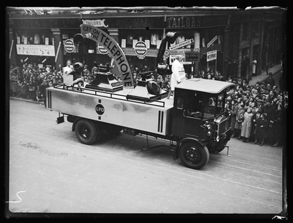 Telephone float in a parade, 1933.