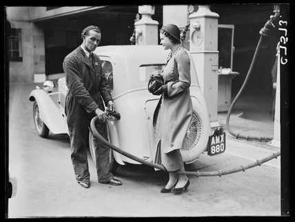 Filling up with petrol, 17 April, 1934.